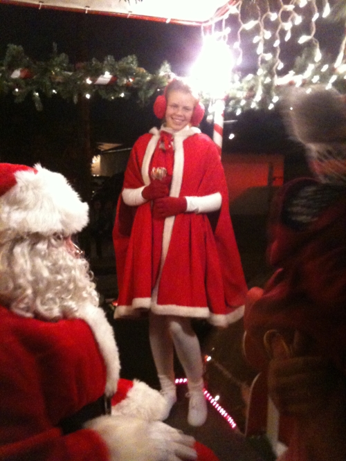 Santa and one of his student  helpers