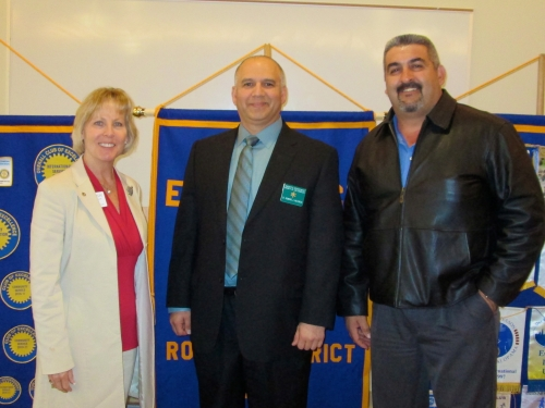 Lawndale Rotary Member Mindy Stogsdill, guest speaker Dominic Valencia and Club President Pro-Tem Ernesto Villareal
