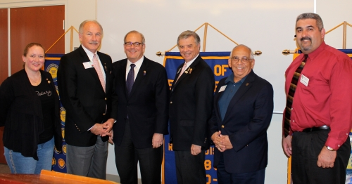 Debbie Holland-Lawndale Rotary President, David Moyers- Rotary District 5280 Foundation Chair, Doug Baker-Incoming District Governor, Lew Bertrand- Current District Governor, Rick Mendoza-Past District Governor, and Ernesto Villareal-Incomoing Lawndale Club President, at the Paul Harris Foundation Celebration for Lawndale Rotary Club